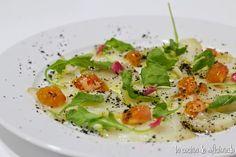 la cocina de aficionado: Carpaccio de bacalao con polvo de aceitunas
