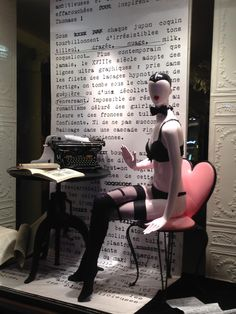 "HERS LINGERIE, Paris, France, ""Expressing your feelings, when you start to type a love letter,it's best not to overdo the expressions of love, especially in the beginning of a relationship...."", pinned by Ton van der Veer"