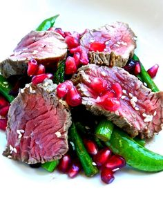 Asian steak salad with Pomegranate Seeds