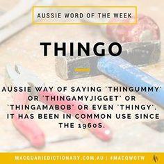 #thingo is the #macquariedictionary #wordoftheweek -- #aussie #words #etymology #slang #definitions #meaning #oz #dictionary #english #australian #language #vocabulary #learning #writing #wordnerd #funfact #wotw #didyouknow #macqwotw