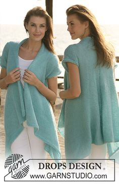 """Long DROPS jacket with short sleeves knitted from side to side in """"Alpaca"""" and """"Vivaldi"""". Size S - XXXL ~ DROPS Design"""