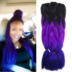 Purple Ombre Kanekalon Jumbo Braiding Hair Styles 22'' 100g African American Synthetic Purple&blue Braiding Hair Colors-in Hair Weaves from Health & Beauty on Aliexpress.com | Alibaba Group