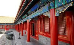 View of red chinese pavilion with columns (Forbidden City,Beijing)  Stock Photo - 10623107
