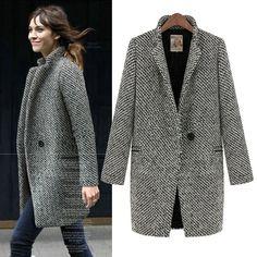 2016 femmes automne et hiver moyen-long plus la taille lâche pied de poule laine costume laine survêtement laine manteau