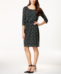 Connected Three-Quarter-Sleeve Printed Dress