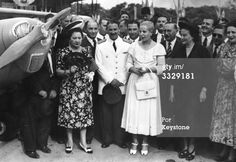 24th January 1949: Eva Peron (1919 - 1952), second wife of Argentinian president Juan Peron, (centre) at a ceremony at Buenos Aires to launch 10 aeroplanes built in Argentina for the training of civil pilots. (Photo by Keystone/Getty Images)