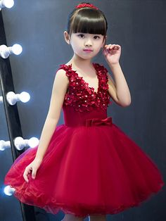 Little /Big Girls Red Stereo Flowers Classical Wedding Birthday Party Dress