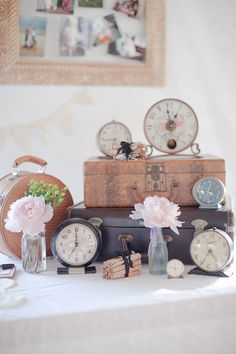 Vintage French Country Wedding decor. Perfect for a dessert display or for your sign in table.