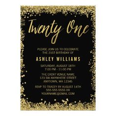 Black Gold Faux Glitter 21st Birthday Invitations Party Sweet 16 15th