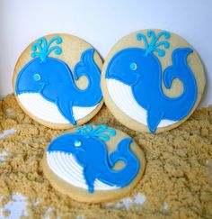 Whales by Jesicakes Whale Cookies, Cookie Decorating Icing, Sugar Dough, Cookie Designs, Cookie Ideas, Cooking Cookies, Summer Cookies, Galletas Cookies, Cut Out Cookies