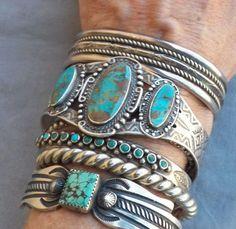 Old Vintage Fred Harvey Era Sterling Silver Turquoise Cuff Bracelet | eBay by proteamundi