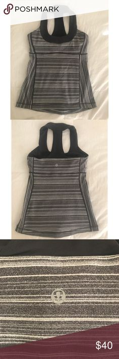 Lululemon Scoop Neck Halter Tank Lululemon gray and white striped scoop neck tank. Size 4. Has built-in shelf bra for support. Excellent condition. Only worn once. lululemon athletica Tops Tank Tops