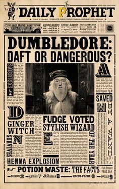 Image shared by Gwenou Potter . Find images and videos about harry potter, dumbledore and daily prophet on We Heart It - the app to get lost in what you love. Harry Potter Poster, Harry Potter Tumblr, Harry Potter Kawaii, Magie Harry Potter, Estilo Harry Potter, Deco Harry Potter, Harry Potter Thema, Classe Harry Potter, Harry Potter Classroom