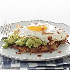 Egg on top of avocado on top of hash browns ... I can definitely get down on that.