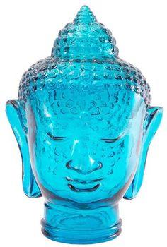 "Spanish 100% Recycled Glass Aqua Blue Buddha Head - 11.75""H Traders and Company http://www.amazon.com/dp/B00AWDWFXA/ref=cm_sw_r_pi_dp_ijv2ub09AJXGF"