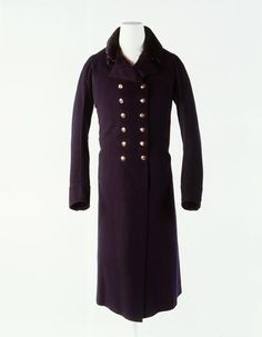 Man's Great Coat by John Weston, 1803-1810 Double-breasted, sil velvet collar and made of high quality British wool facecloth.