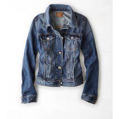 AEO Classic Denim Jacket (Coat) (£13) ❤ liked on Polyvore featuring outerwear, jackets, denim, denim jacket, medium rinse, jean jacket, american eagle outfitters jacket, blue denim jacket, blue jackets and straight jacket