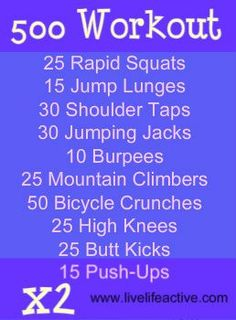 Great and quick workout to do ANYWHERE. It only takes 10 minutes and works every muscle group :) By the end of 10 minutes, you've done 500 reps!