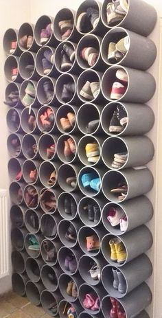 19 Fabulous DIY Ideas to Organize Shoes - Simple Life of a Lady : fun and creative shoes organization ideas! fun and creative shoes organization ideas! fun and creative shoes organization ideas! Diy Shoe Rack, Diy Shoe Organizer, Shoe Rack Hacks, Wall Shoe Rack, Shoe Rack For Boots, Pvc Shoe Racks, Wall Hat Racks, Shoe Storage Hacks, Wall Mounted Shoe Rack