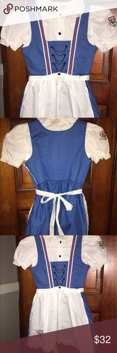 Authentic German Dirndl Dress Girl's 6 Side zipper 100%Cotton Never Worn. Has been hanging in a closet since the 1980's. Brought home from Germany while on vacation. European size 116. Apron is removable. There is embroidery on the sleeves and apron   Trachten-Schmider Dresses