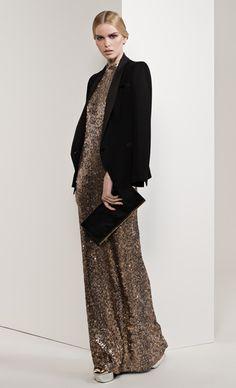 "Champagne Paillette ""Hollywood"" Sun Gown - $949, Caviar Crepe, ""Parisian"" Tux Jacket - $720, Caviar Gold Strip Clutch - $399"