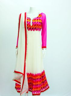 White Anarkali with Phulkari