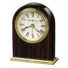 Charmant Ebony Finish Arched Tabletop Alarm Clock | 645746 Howard Miller