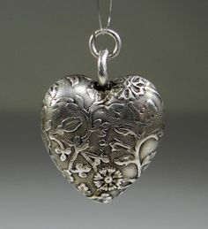 ANTIQUE ART NOUVEAU PUFFY HEART CHARM FLORAL SILBER HERZ ANHÄNGER SILVER A769 | Jewelry & Watches, Vintage & Antique Jewelry, Fine | eBay!