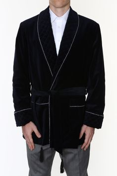 Smoking Jacket - NAVY Velvet - Smoking Robe in Clothes, Shoes & Accessories, Men's Clothing, Nightwear | eBay