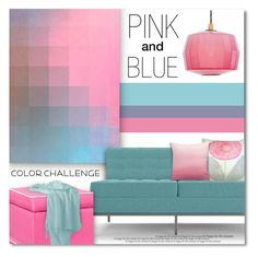 """Pink & Blue"" by debraelizabeth ❤ liked on Polyvore featuring interior, interiors, interior design, home, home decor, interior decorating, Joybird Furniture, PBteen, Token and Sugarboo Designs"