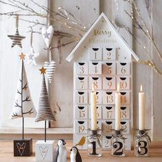 White And Gold Wooden House Advent Calender - new in christmas