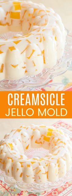 Creamsicle Jello Mold - cubes of fresh orange jello floating in vanilla ice cream gelatin is a creamy and fun retro dessert based on vintage recipes. This gluten-free no-bake dessert recipe is perfect for spring and summer. Dessert Salads, Ice Cream Desserts, Köstliche Desserts, Gluten Free Desserts, Delicious Desserts, Dessert Recipes, Yummy Food, Jello Salads, Orange Creamsicle