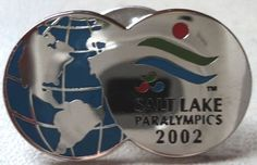 PARALYMPIC GAMES PIN Salt Lake 2002 Globe World Sivertone Blue Hat Tack Badge