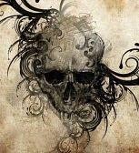 tatouage tete de mort : Croquis de l'art du tatouage, fait main illustration