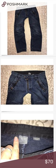 Men's A/X Armani Exchange Zip Tapered Moto Jeans! Men's A/X Armani Exchange Zippered Skinny Tapered Leg Moto Jeans! 31 x 29 short Great Used! Factory distressed! 100% cotton 16 across & 9 rise A/X Armani Exchange Jeans Slim