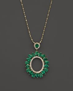 Emerald and Diamond Pendant Necklace in 14K Yellow Gold, 18"