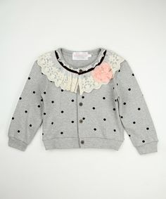 Look at this Gray Polka Dot Lace Collar Cardigan - Toddler & Girls on #zulily today!