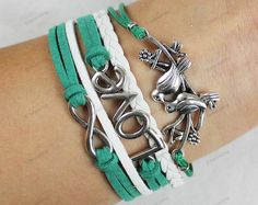 Handmade love & double bird leather bracelet, shop at Costwe.com