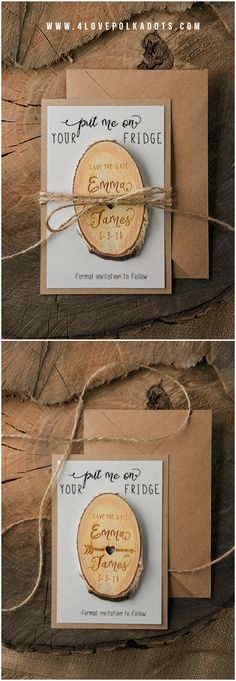 Save the Date card with wooden magnet ! #wood #eco #rustic #handmade #savethedate #wedding #weddingplanning #ideas