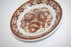 Vintage white and brown Polish plate Big Folk decorative plate Polish folk art Polish pottery Polish Ceramics Hand Painted Flowers Wall dish by VintagePolkaShop on Etsy