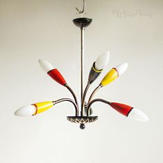 Vintage-50s-60s-Mid-Century-Eames-Era-6-Arm-Space-Age-Light-Fitting-FREE-UK-P-amp-P