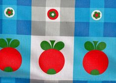 Funky 1970s Blue Gingham Tomato Kitchen Fabric by Pommedejour, $42.00