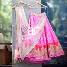 Anushree Reddy Bubblegum Pink #Lehenga With Red Embroidered Border & Light Pink Dupatta.
