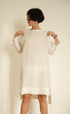 63debbed3884  linen  purewhite  tunic  fashion  linendress Vestiti Di Lino Bianco