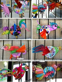 Manualidades de reciclaje con CDs: Hoy me gustaría compartir con todos vosotros esta fantástica manualidad de la mano de los alumnos de Espe, se trata de exóticos pájaros de reciclaje con CDs. Esta será ideal para hacer manualidades de primavera...