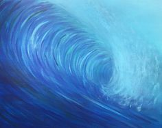 "Artículos similares a Original Oil Painting - Curling Wave series 3, 12""x16"" (surf art, sunrise) en Etsy"