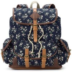 Mudd Jessica Floral Backpack (Blue) ($20) ❤ liked on Polyvore featuring bags, backpacks, backpack, blue, blue backpack, blue bag, floral print backpack, top handle bag and floral rucksack