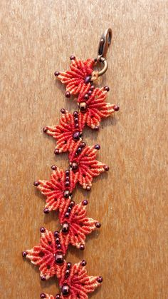 Red Maple Autumn Leaves Beaded Micro Macrame by PicotsnPosies