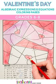 Looking for a fun way to practice algebraic expressions and equations with your middle schoolers for Valentine's Day? These coloring pages feature Valentine's Day and non-Valentine's Day colors. They are a great way to practice algebra skills for class work, homework, or fast finishers!