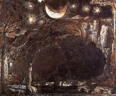 Samuel Palmer 'A Shepherd and his Flock under Moon and Stars'